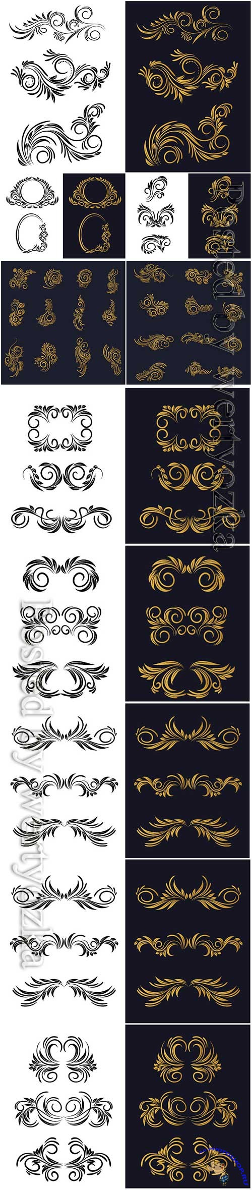 Elegant decorative ornamental floral decorative set design