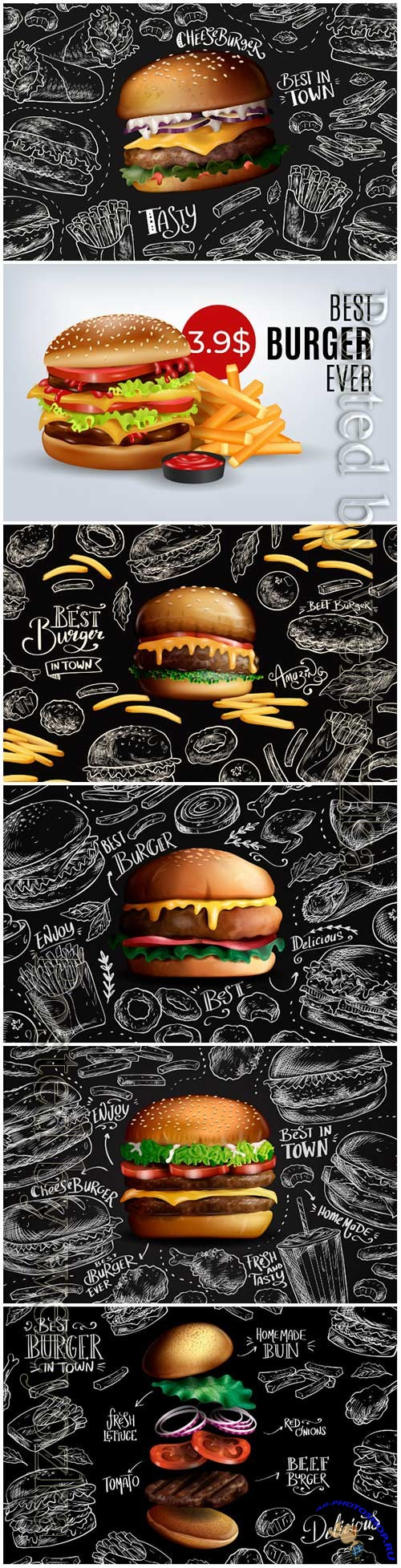 Falling realistic burger on chalkboard background