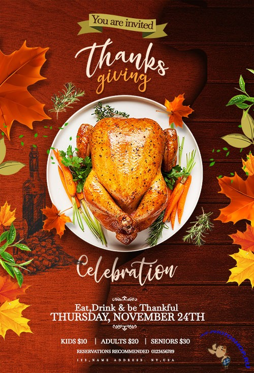 Thanks Giving Flyer PSD Template (2)