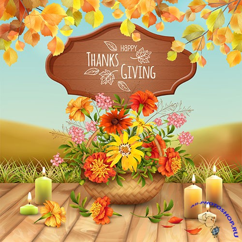 Thanksgiving card with a basket filled with autumn flowers and lighted candle