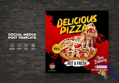 Food menu and delicious hot fresh vector pizza
