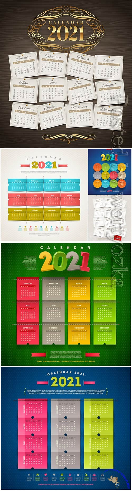 Calendar for 2021 year template vector design