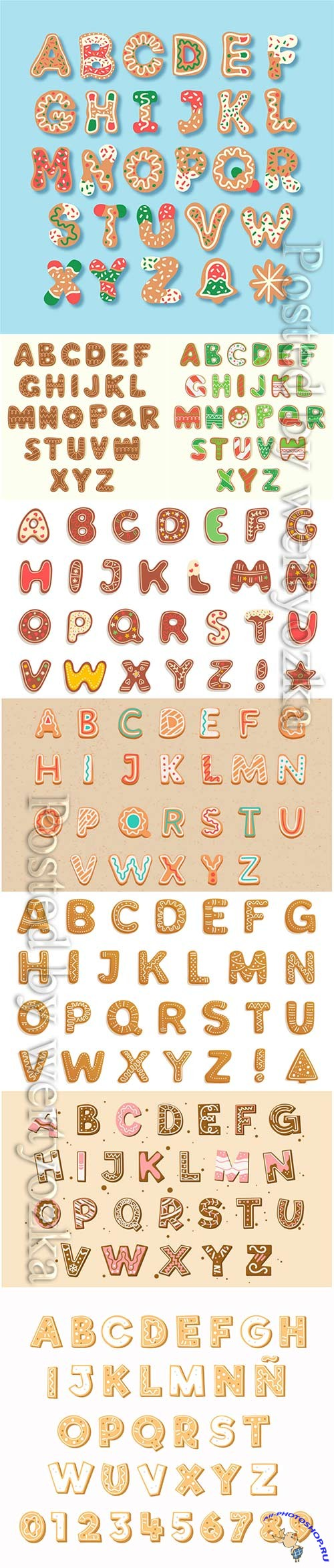 Gingerbread christmas alphabetical vector letters