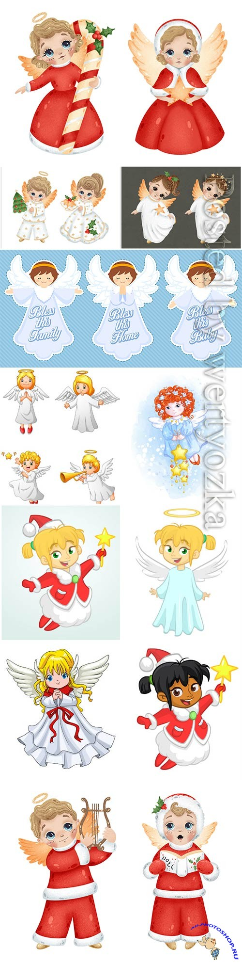 Christmas angels in vector