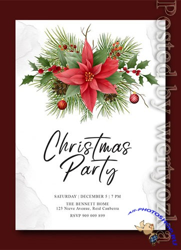 Christmas template with ornament decorations premium psd