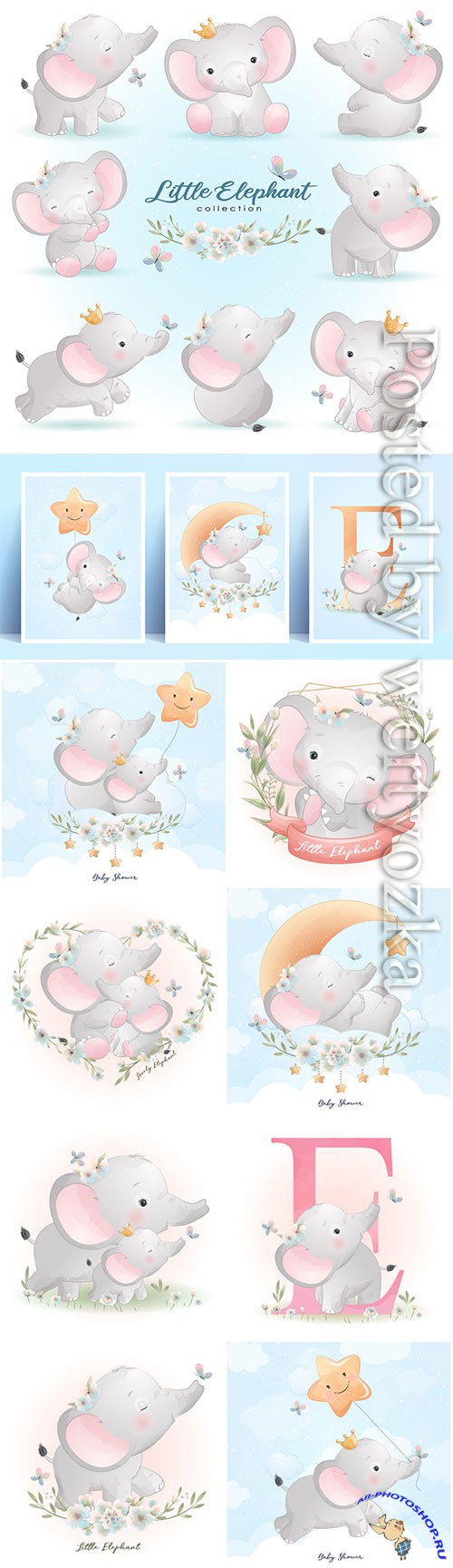 Cute doodle elephant poses with floral illustration premium vector