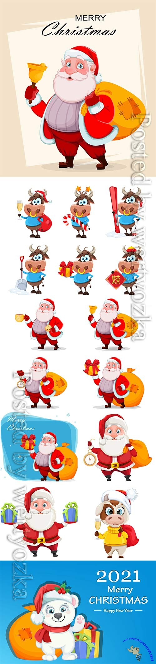 Merry christmas and happy new year, vector cheerful santa claus