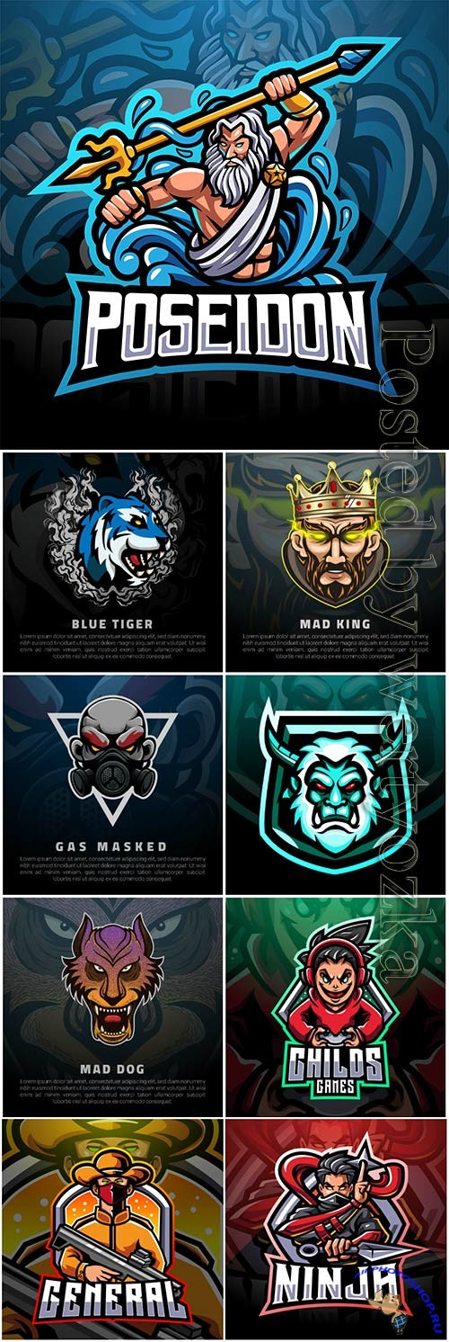 Mascot esport logo design premium vector vol 18