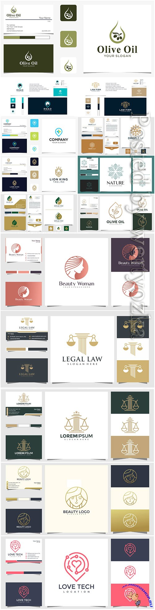 Logo design concept and business card premium vector