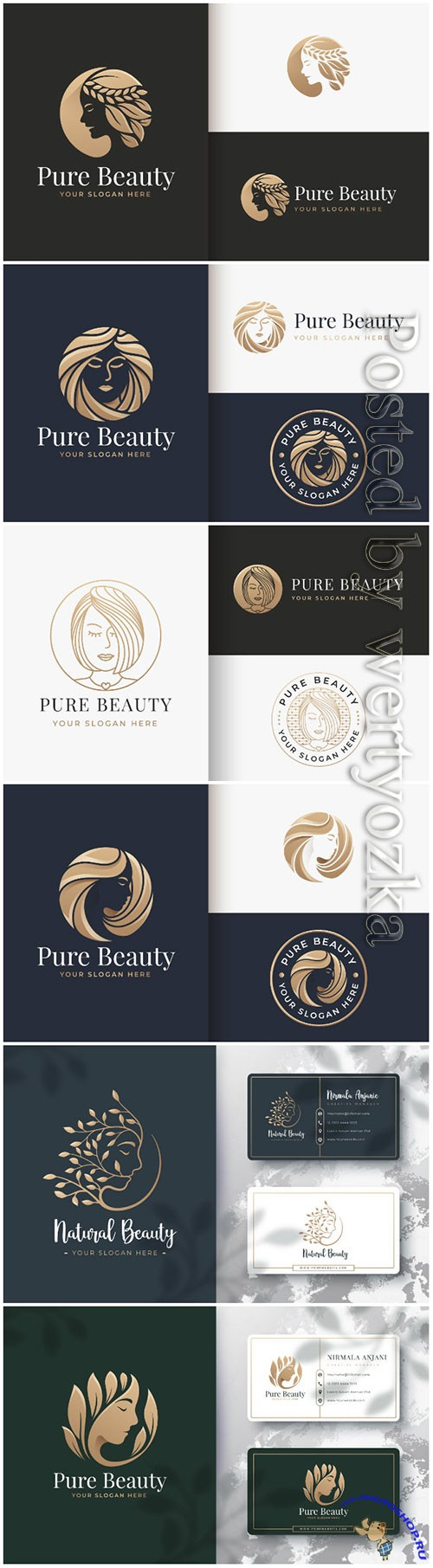 Beauty logo and business card design premium vector