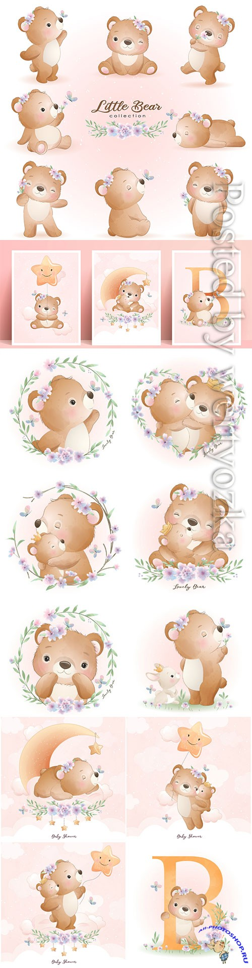 Cute doodle bear poses with floral set illustration premium vector