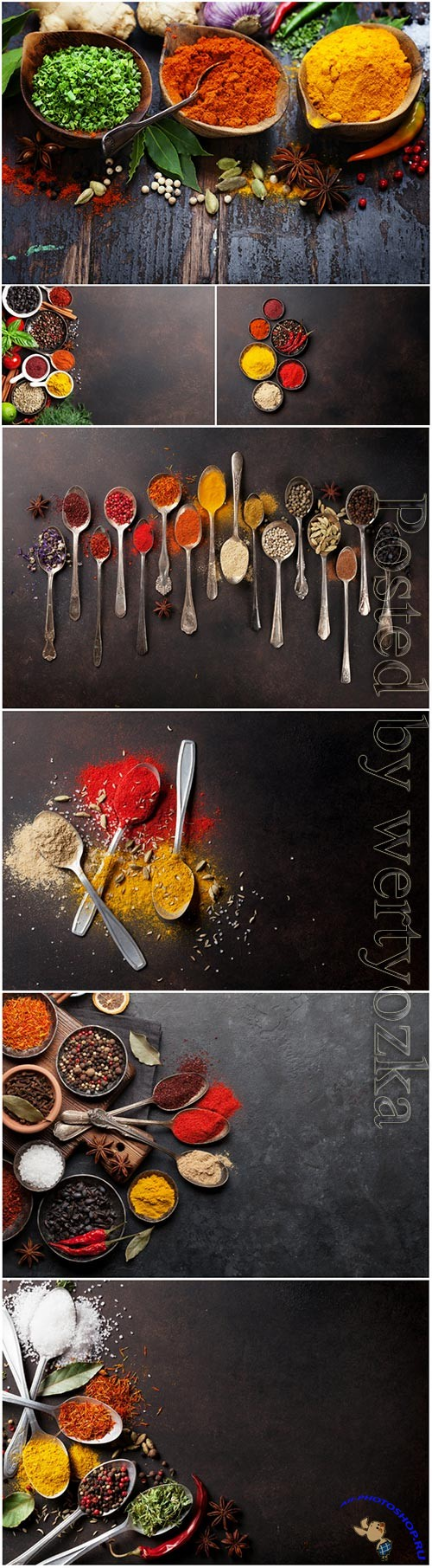 Spices on stone table stock photo