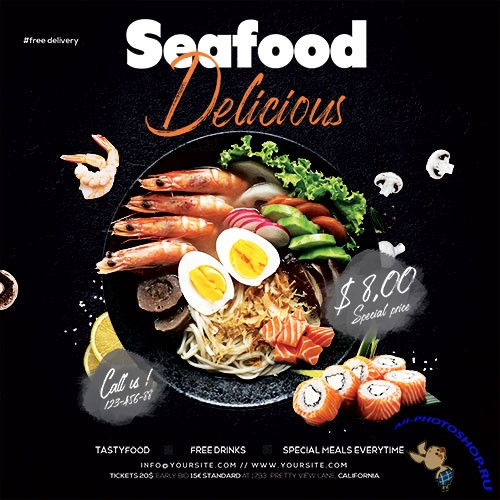 Seafood Online Ordering Food - Premium flyer psd template