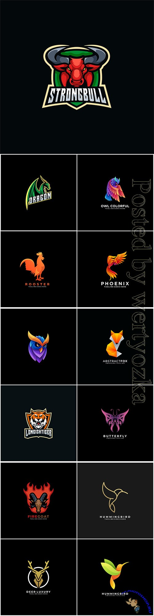 Animals and birds logos in vector vol 5