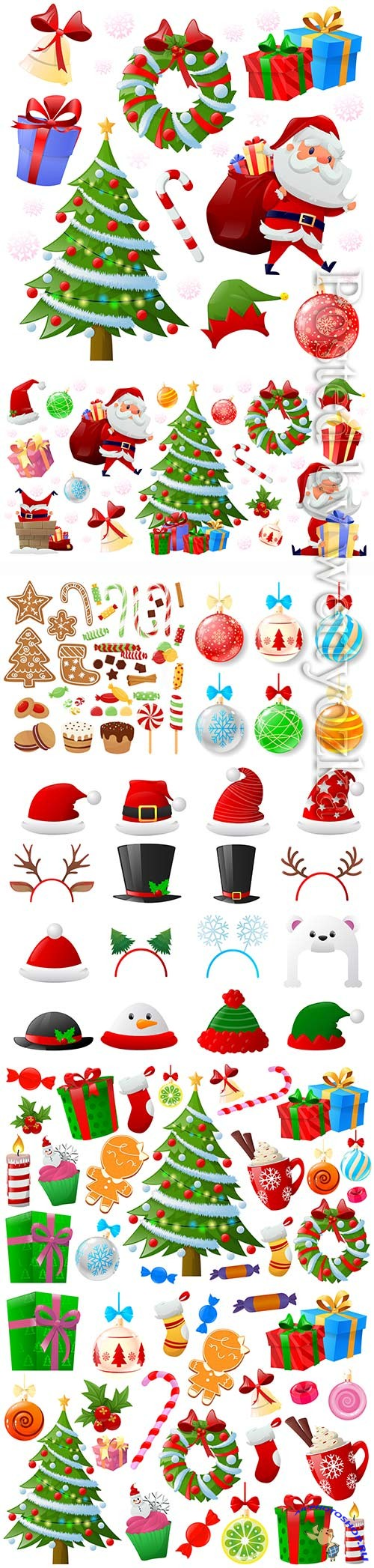 Cartoon colorful christmas element vector
