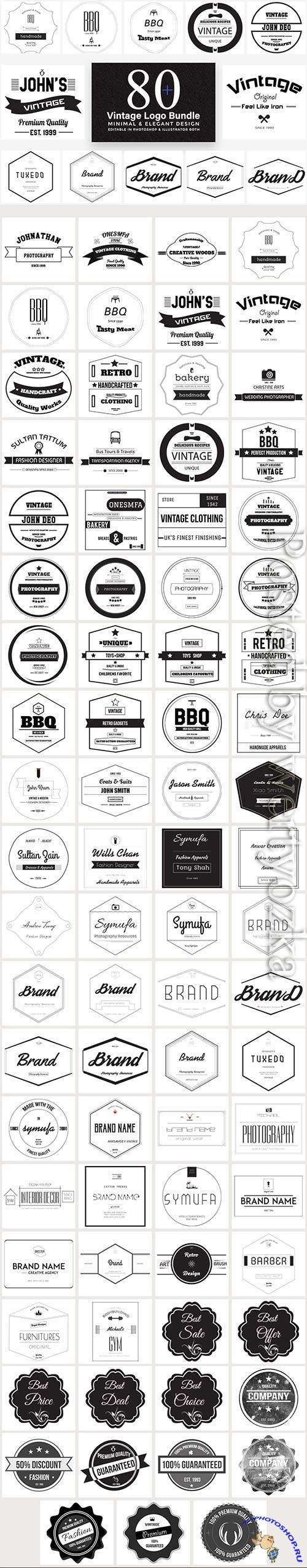 80 Vintage Logo Bundle Full Preview