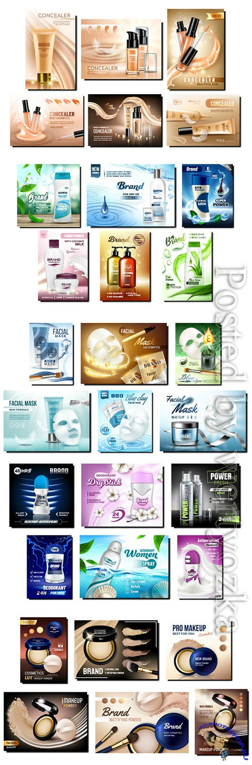 Cosmetics promotion posters set vector