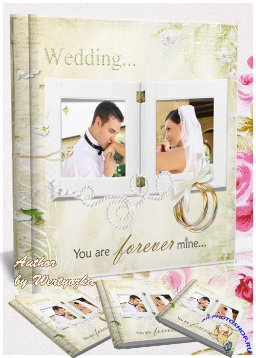 Wedding photo album in gentle light colors