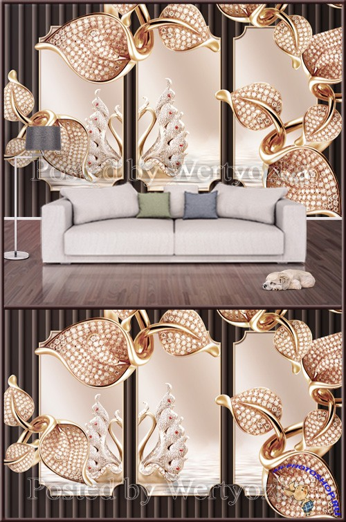 3D psd background wall golden metal mosaic swan