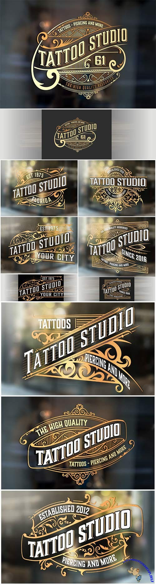 Logo tattoo with gold vector elements