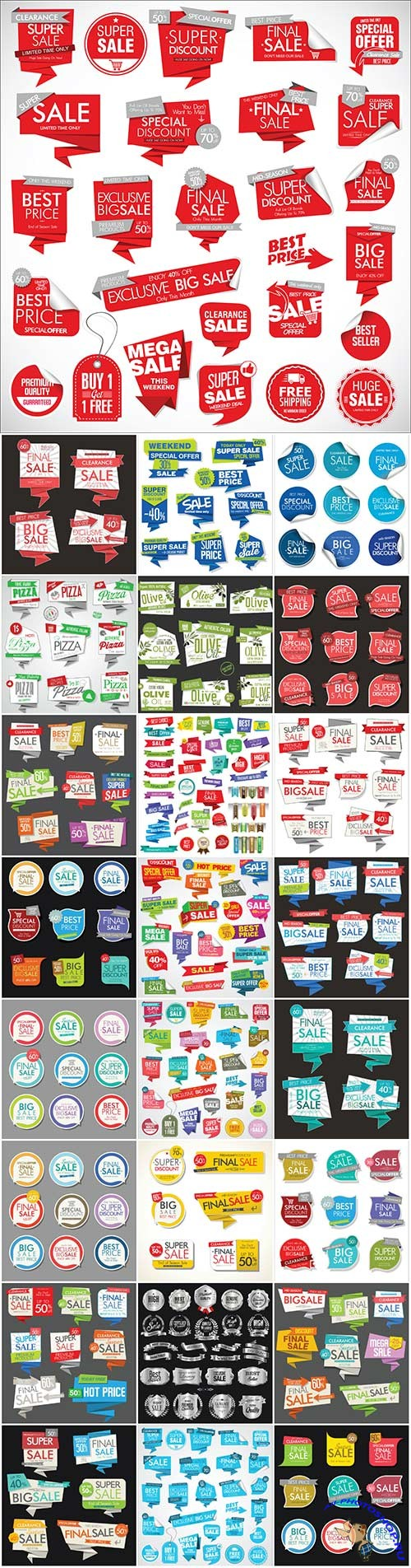 Labels, stickers, and various signs in vector
