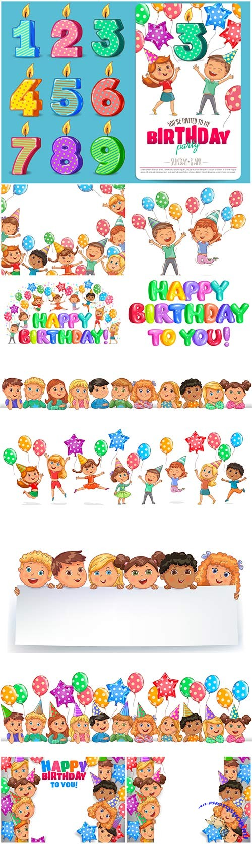Happy birthday vector illustration, funny kids