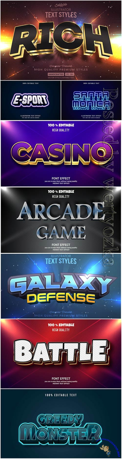 3d editable text style effect vector vol 36