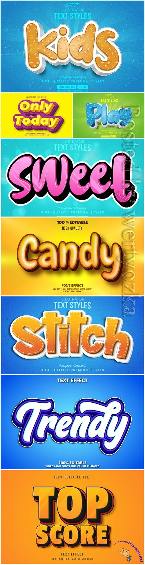 3d editable text style effect vector vol 38