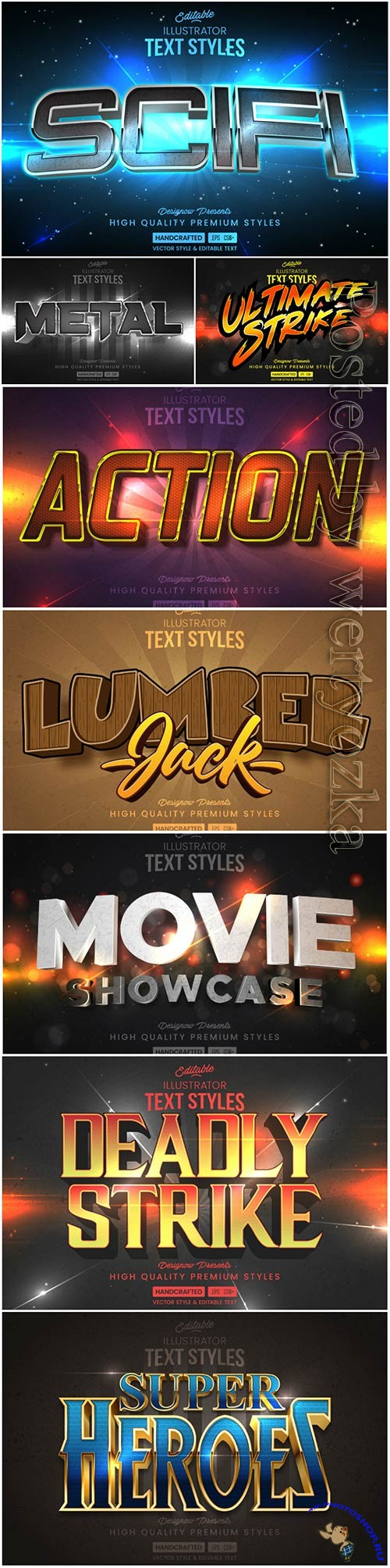 3d editable text style effect vector vol 37