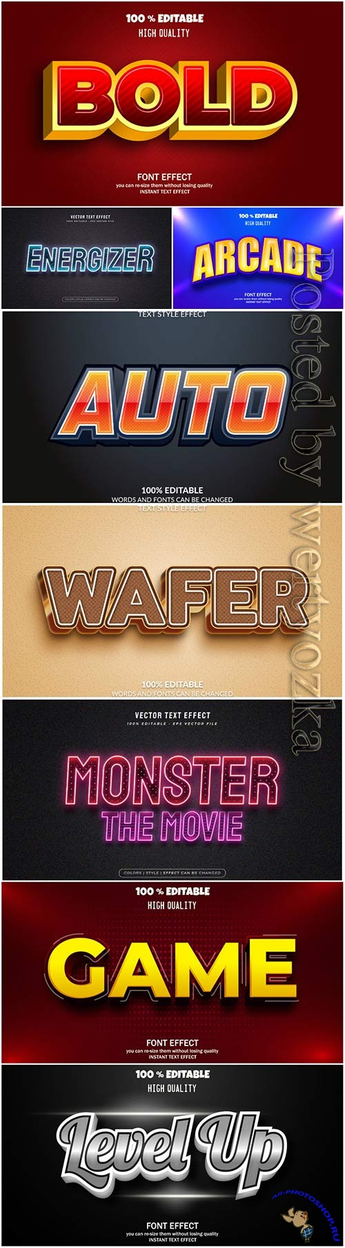 3d editable text style effect vector vol 45