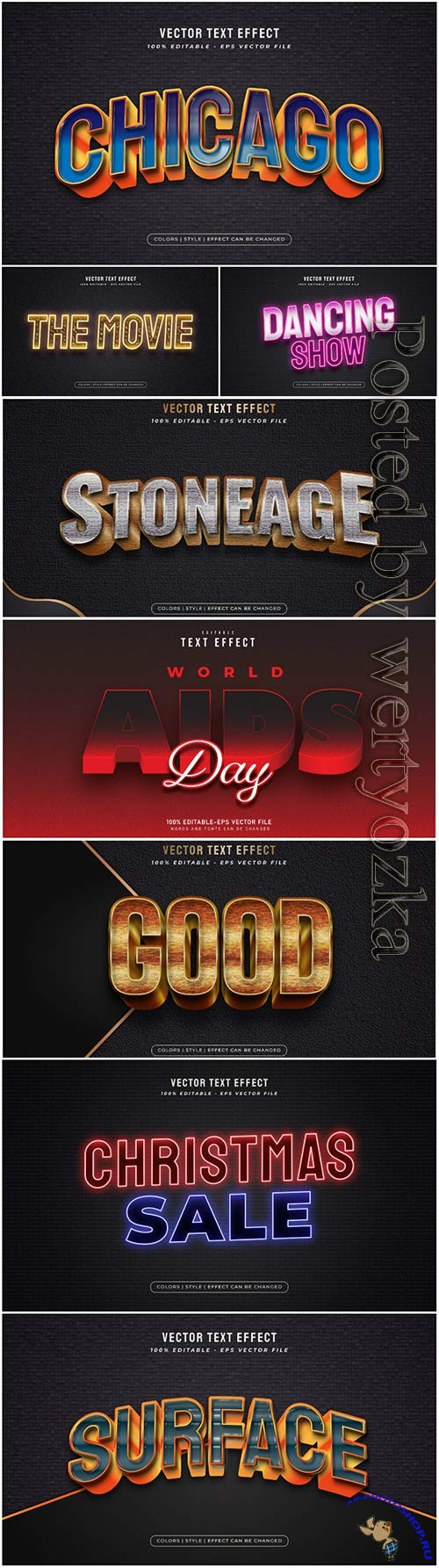 3d editable text style effect vector vol 44