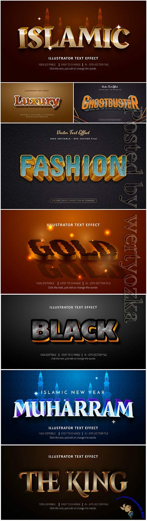3d editable text style effect vector vol 43