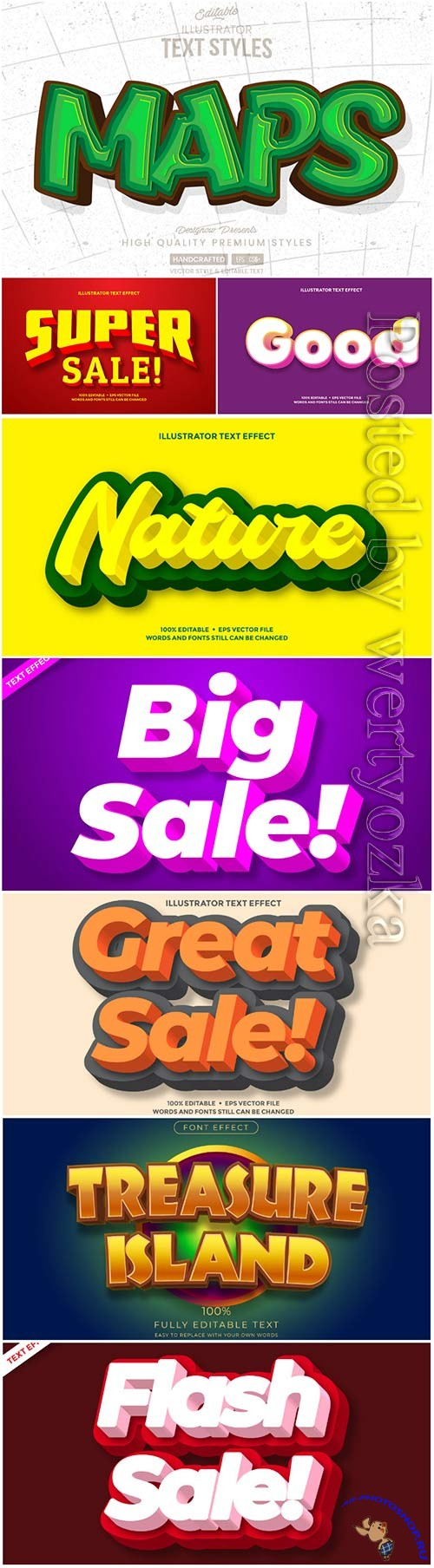 3d editable text style effect vector vol 42
