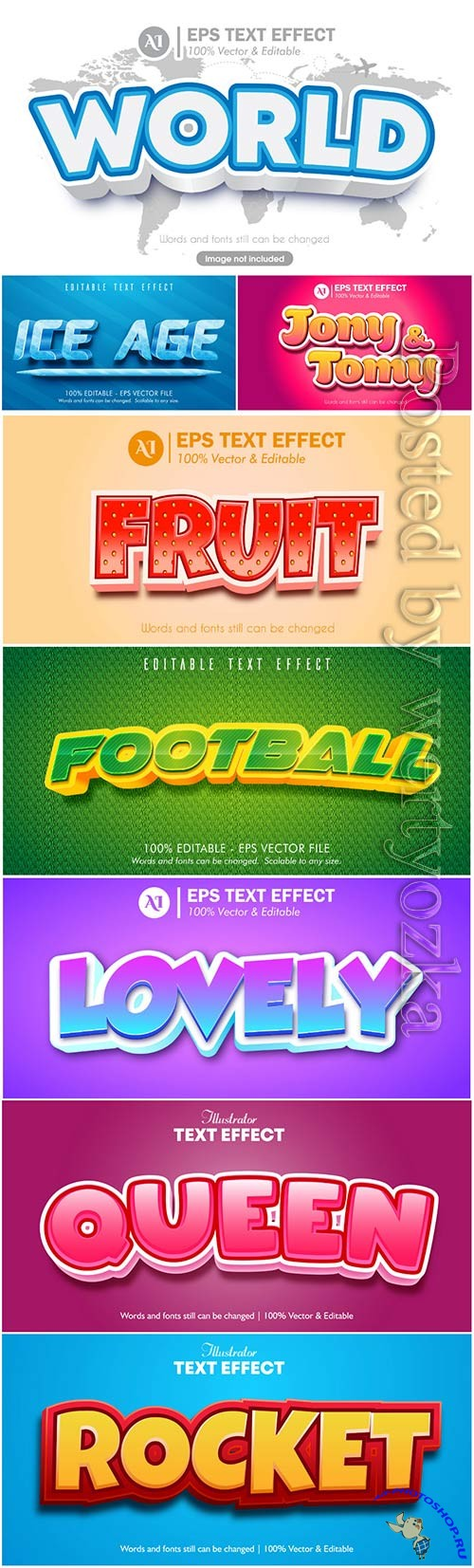 3d editable text style effect vector vol 39