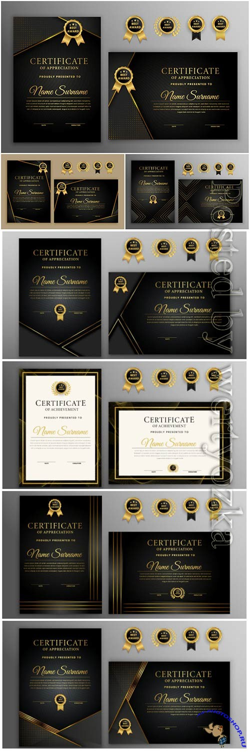 Luxury certificate with gold and black badge vector template