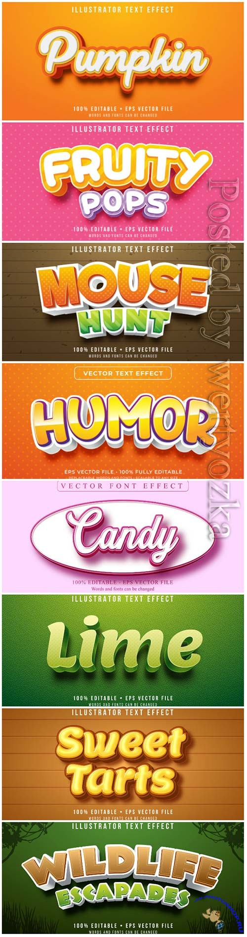 3d editable text style effect vector vol 102