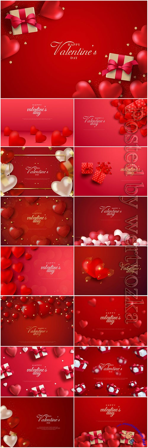 Valentine's day background with love balloons and gift box on red background