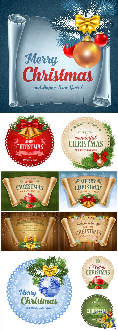 New Year and Christmas illustrations in vector №39