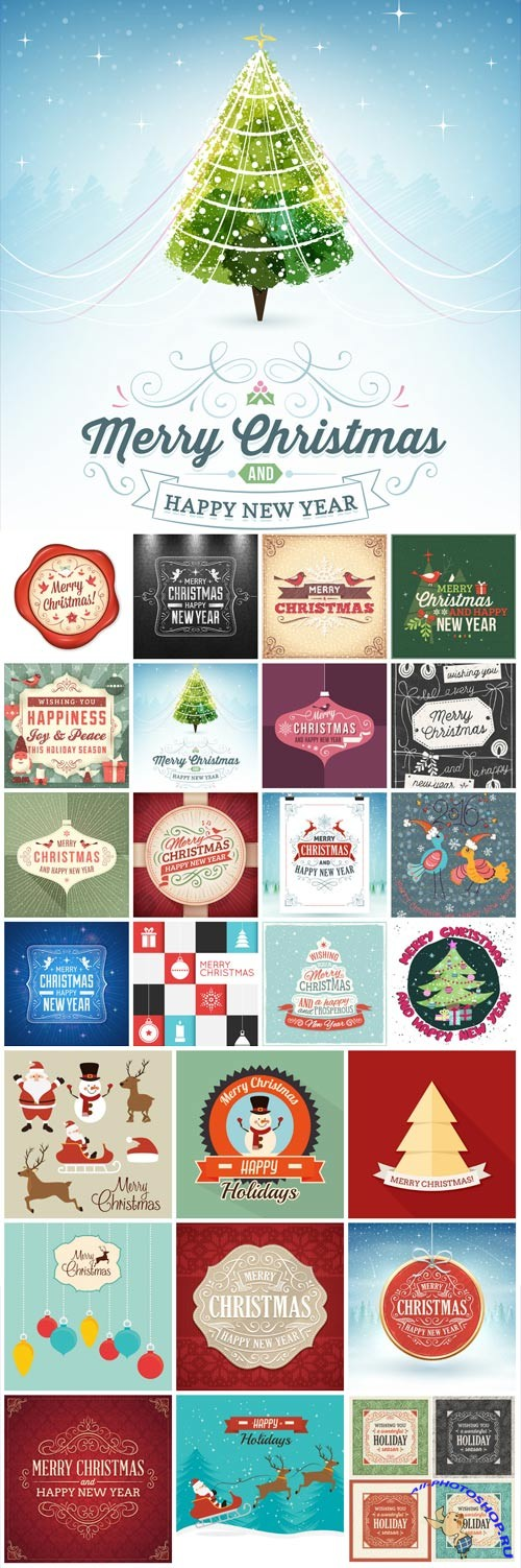 New Year and Christmas illustrations in vector №38