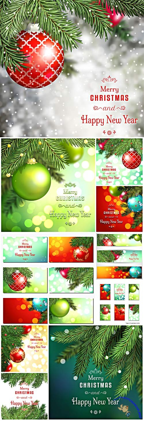 New Year and Christmas illustrations in vector №12