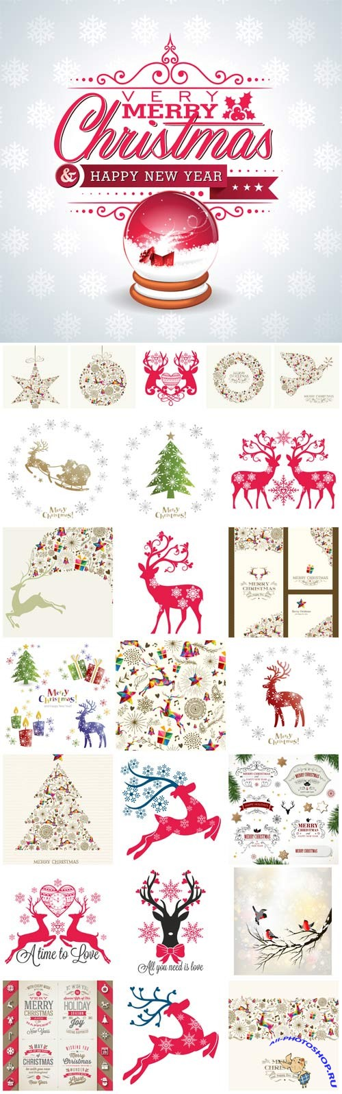 New Year and Christmas illustrations in vector №3
