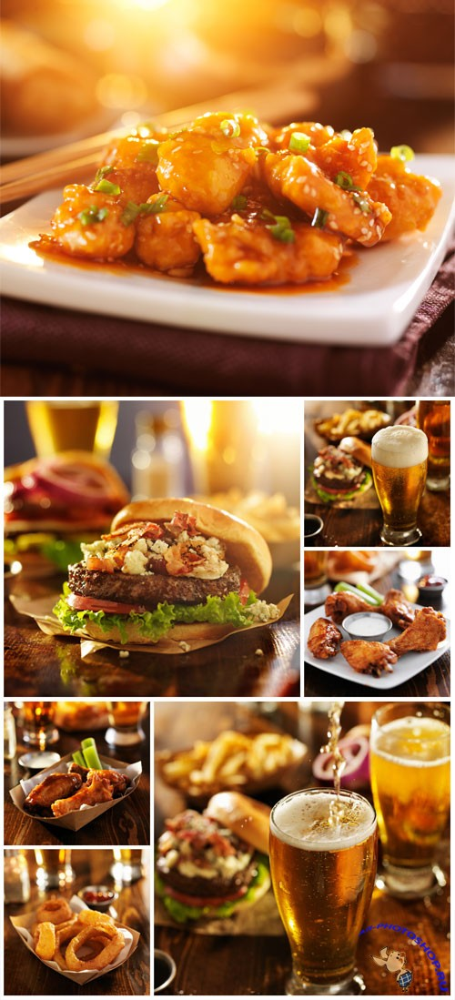 Fast food and beer stock photo