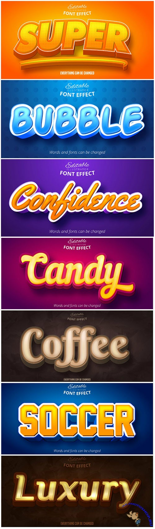 3d editable text style effect vector vol 112