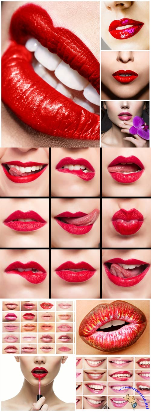 Female lips with red lipstick stock photo