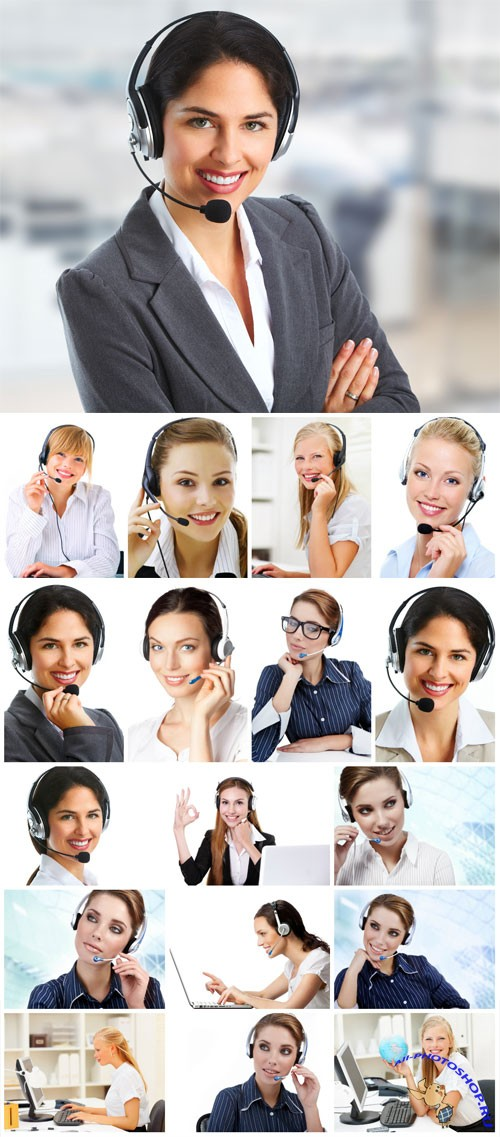 Female operators stock photo