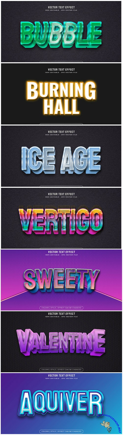 3d editable text style effect vector vol 136