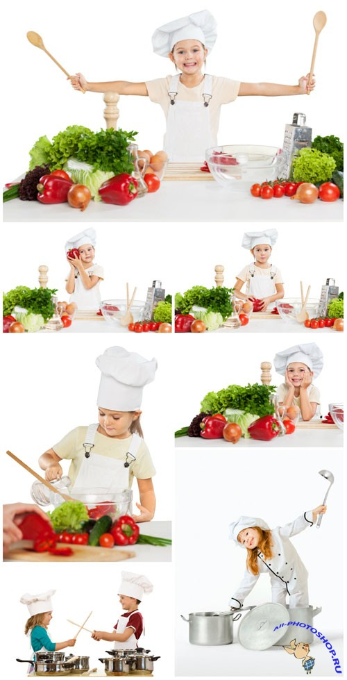Children in chef suits stock photo