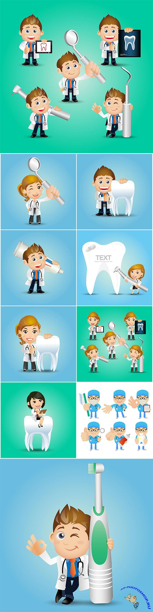 People vector set profession dentist