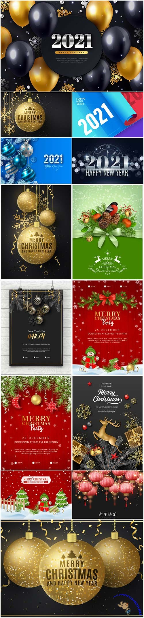 Christmas and new year vector poster