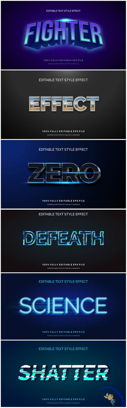 3d editable text style effect vector vol 179